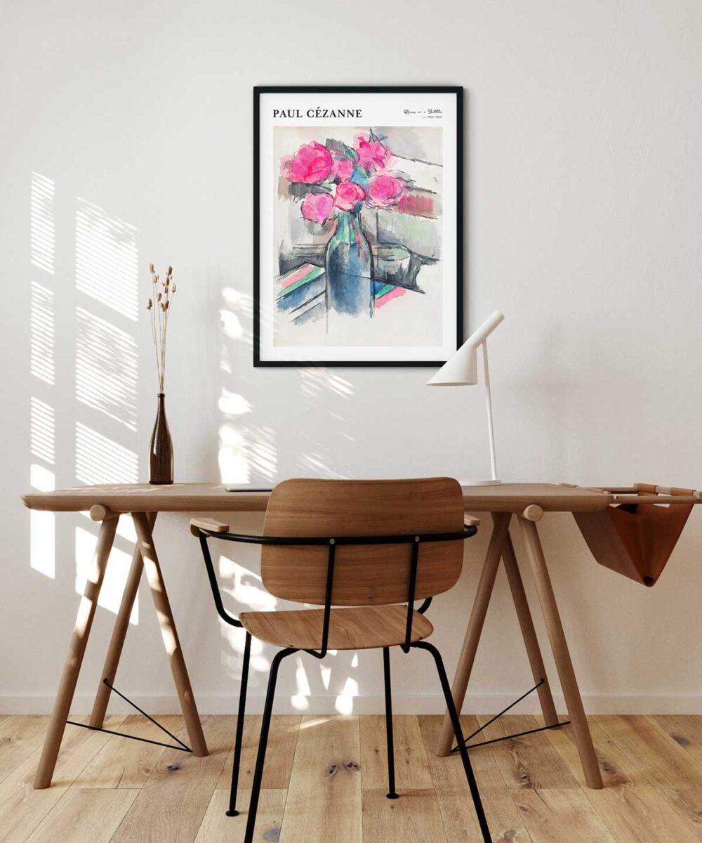 Paul-Cezanne-Roses-in-a-Bottle-Poster---Black-Framed-Duwart