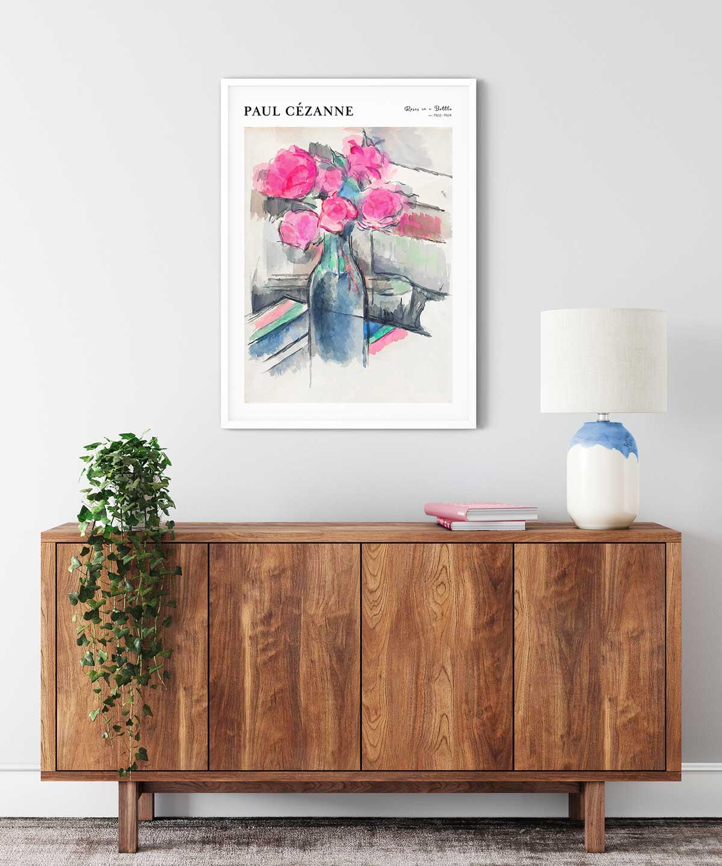 Paul-Cezanne-Roses-in-a-Bottle-Poster--White-Framed-on-Wall-Duwart