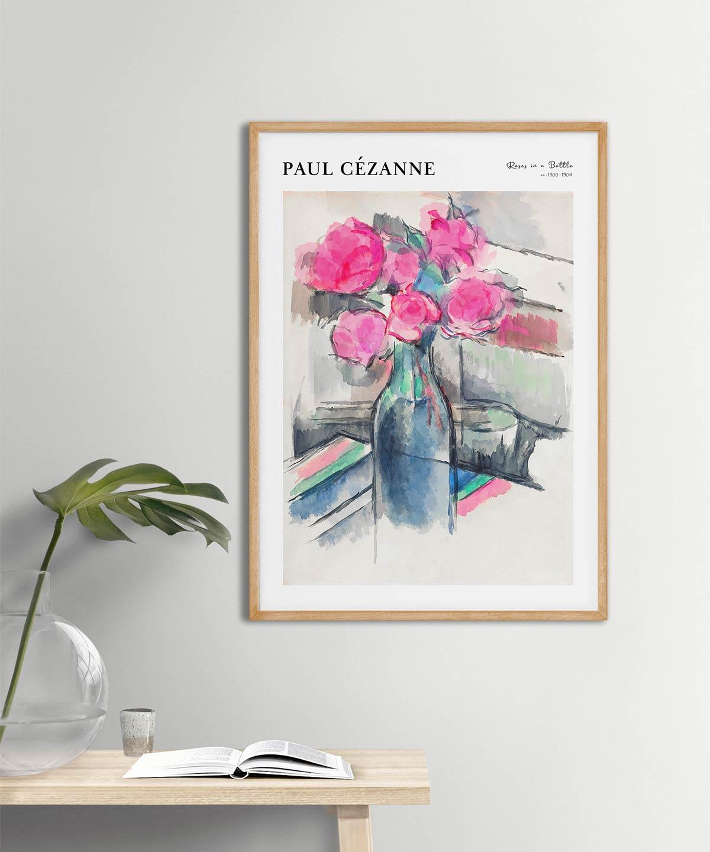 Paul-Cezanne-Roses-in-a-Bottle-Poster-Wooden-Frame-Duwart
