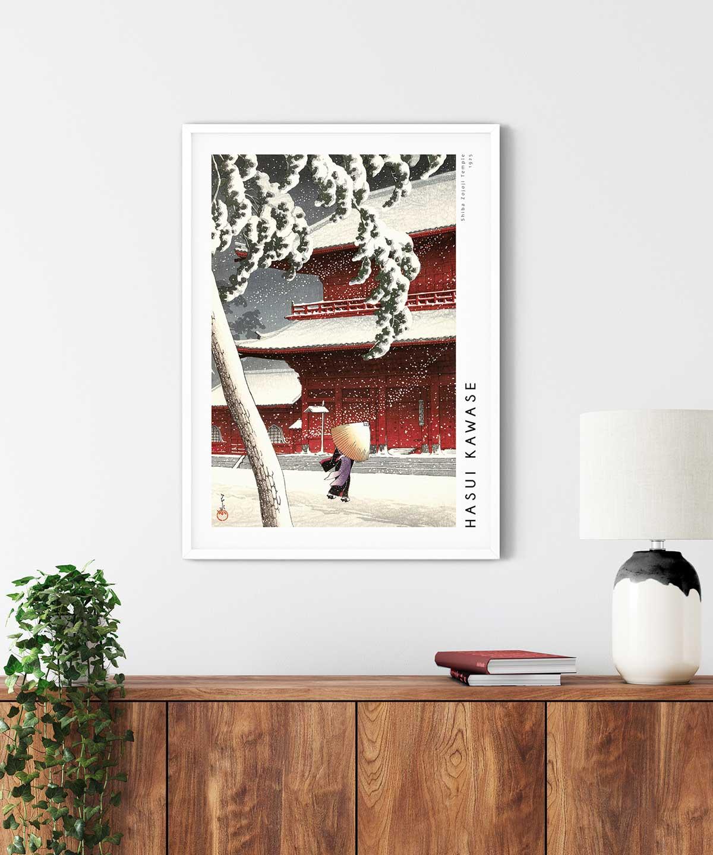 Shiba-Zojoji-Temple-Poster-White-Framed-Duwart