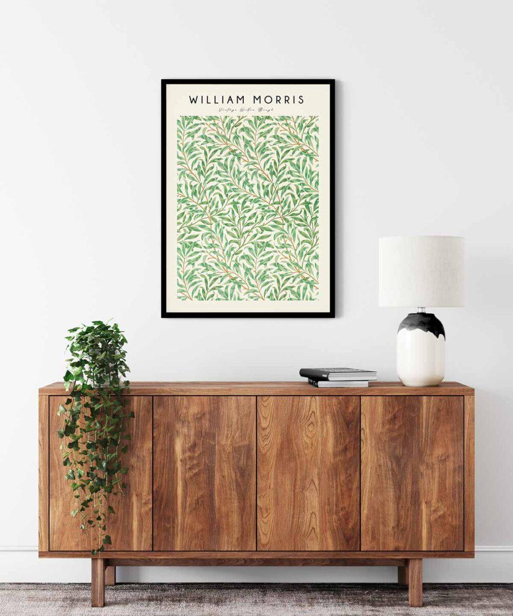 William-Morris-Vintage-Willow-Bough-Poster--Black-Framed-on-Wall-Duwart