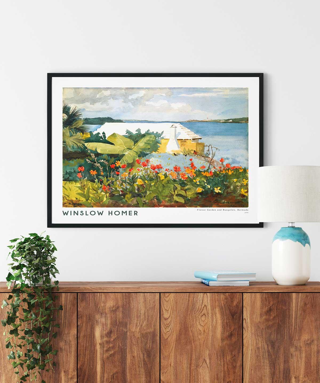 Winslow-Homer-Flower-Garden-and-Bungalow-Poster-Black-Framed-Duwart