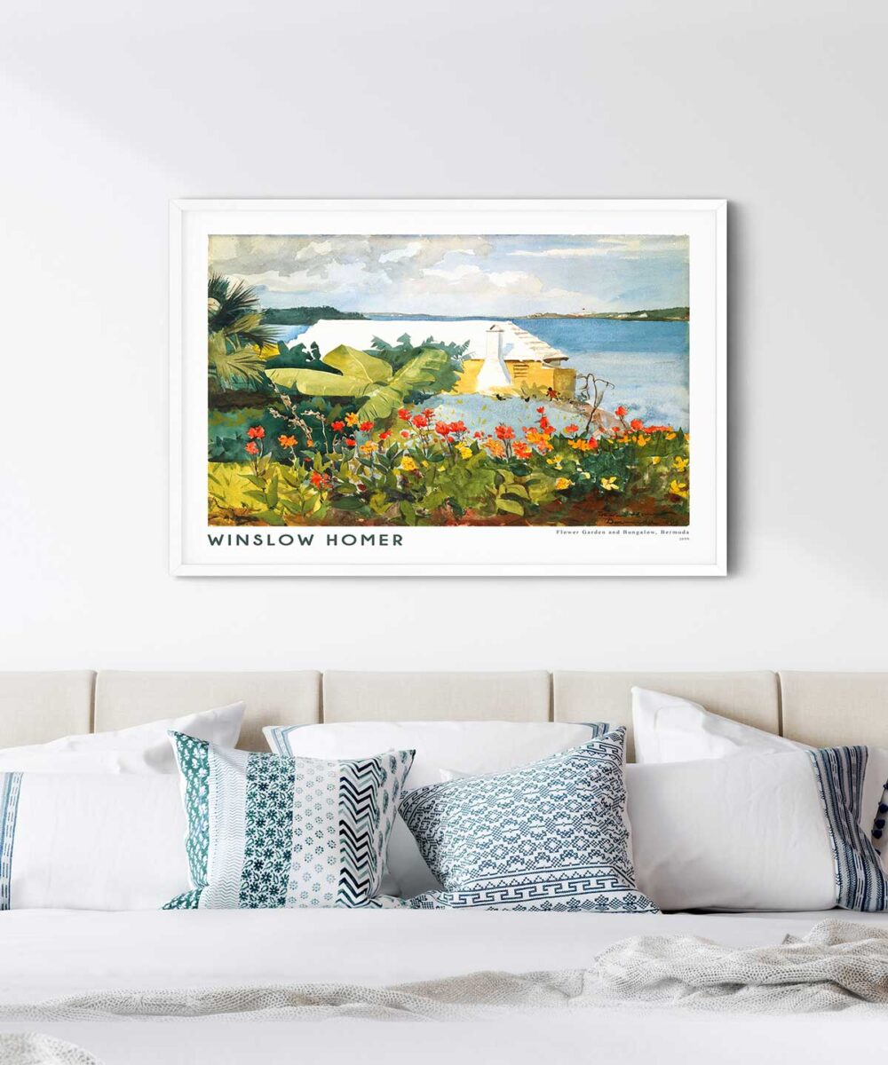 Winslow-Homer-Flower-Garden-and-Bungalow-Poster-White-Framed-Duwart