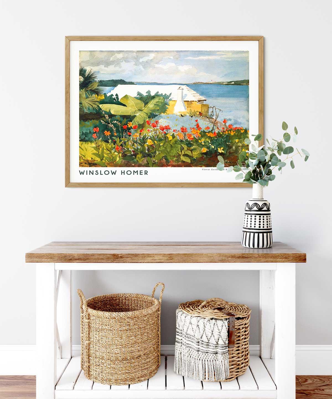 Winslow-Homer-Flower-Garden-and-Bungalow-Poster-Wooden-Framed-Duwart