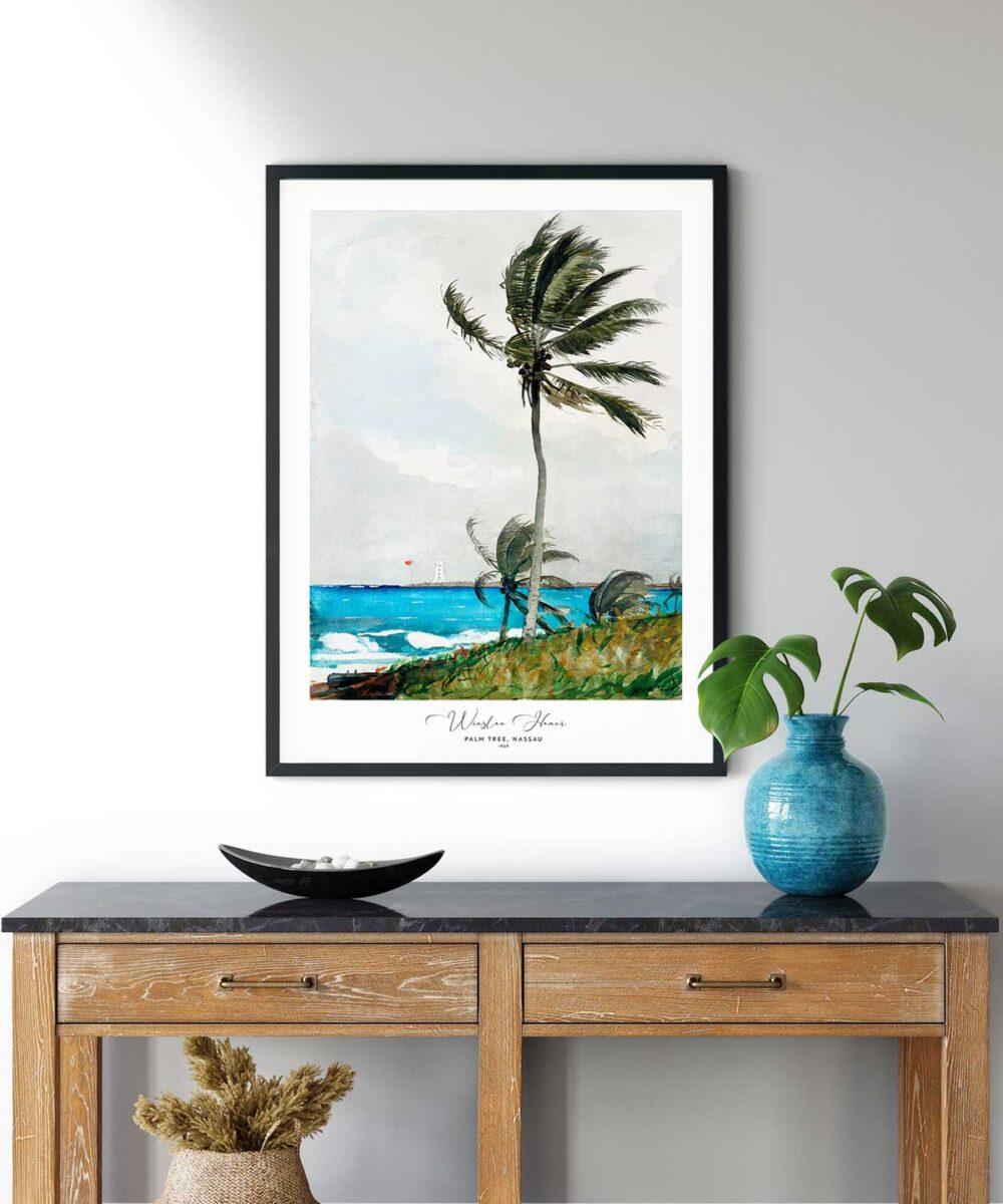 Winslow-Homer-Palm-Tree-Nassau-Poster-Black-Framed-on-Wall-Duwart