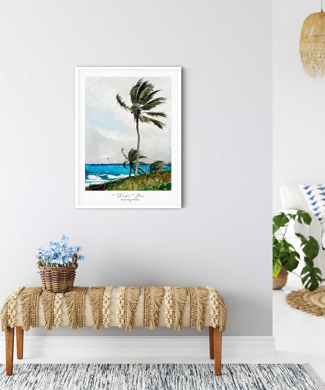 Winslow Homer-Palm Tree-Nassau Poster-White-Framed-on-Wall-Duwart
