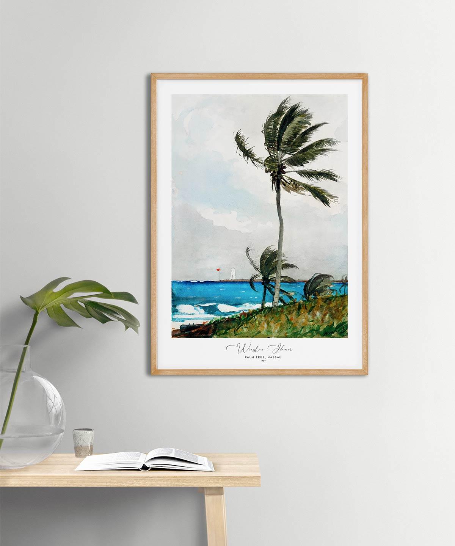 Winslow Homer-Palm Tree-Nassau Poster-Wooden-Framed-on-Wall-Duwart