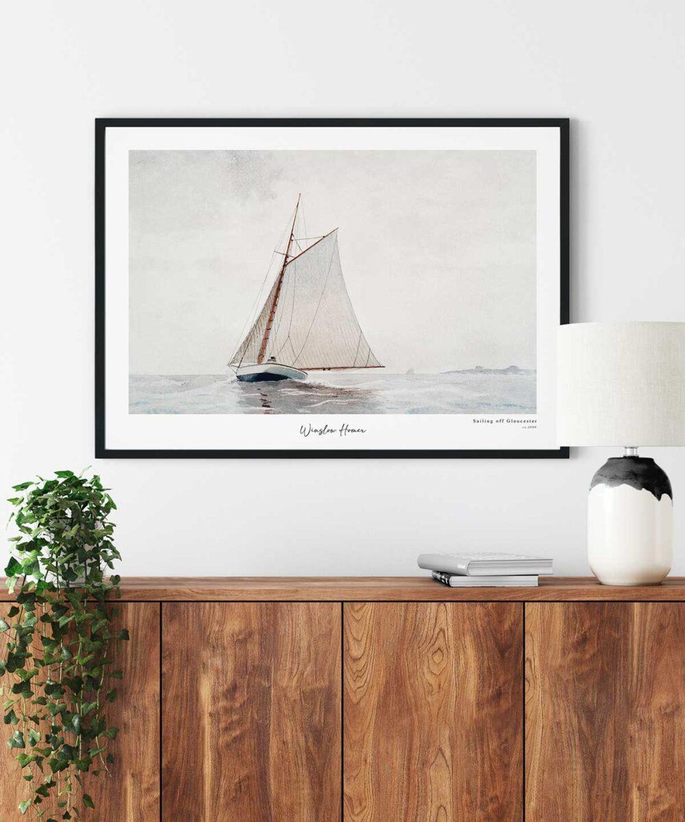 Winslow-Homer-Sailing-off-Gloucester-Poster-Black-Framed-Duwart