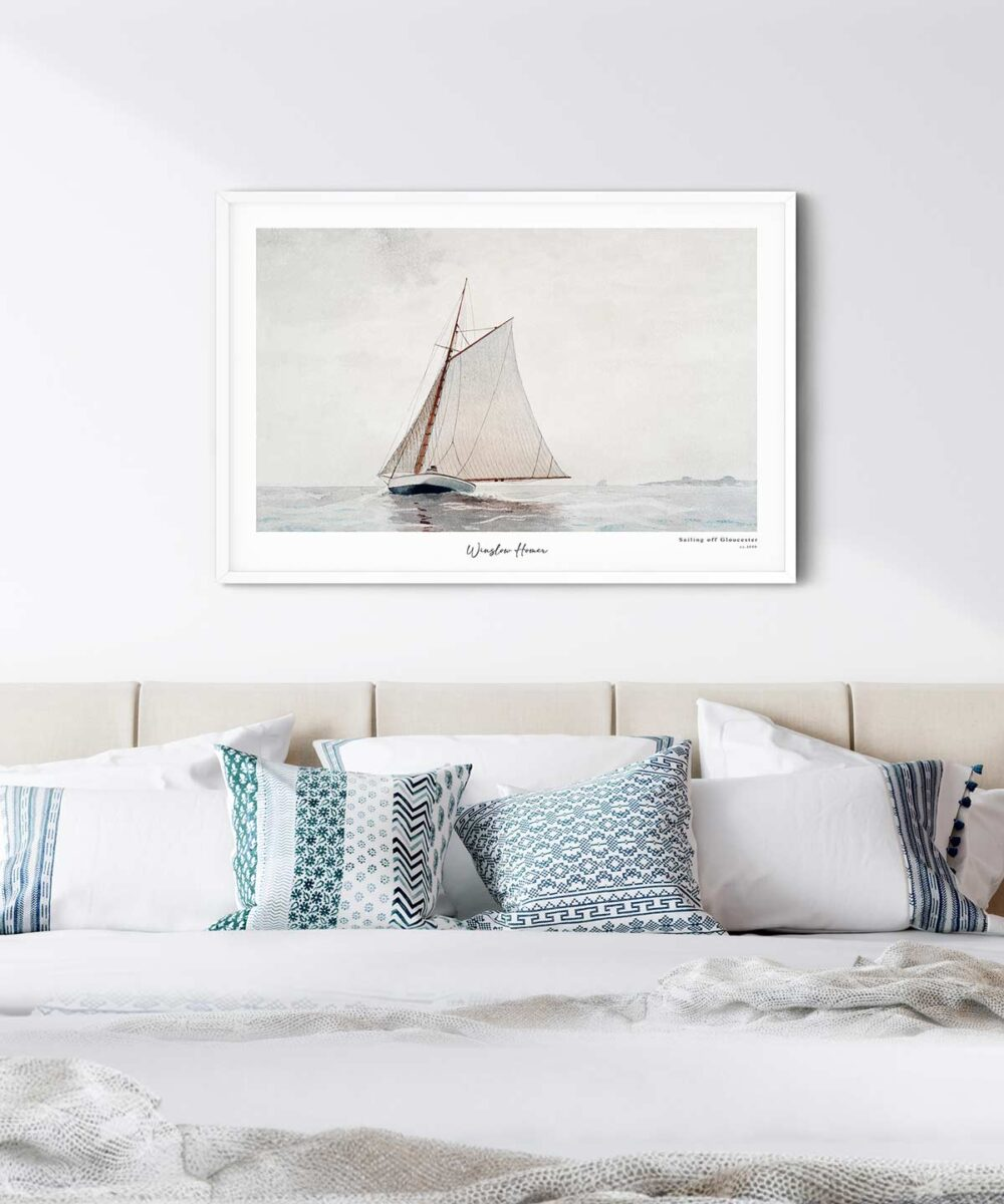 Winslow-Homer-Sailing-off-Gloucester-Poster-White-Framed-Duwart