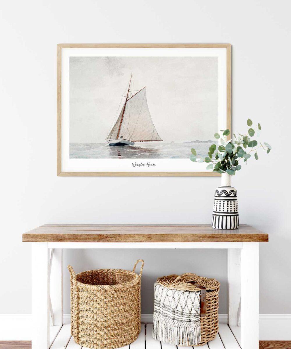 Winslow-Homer-Sailing-off-Gloucester-Poster-Wooden-Framed-Duwart