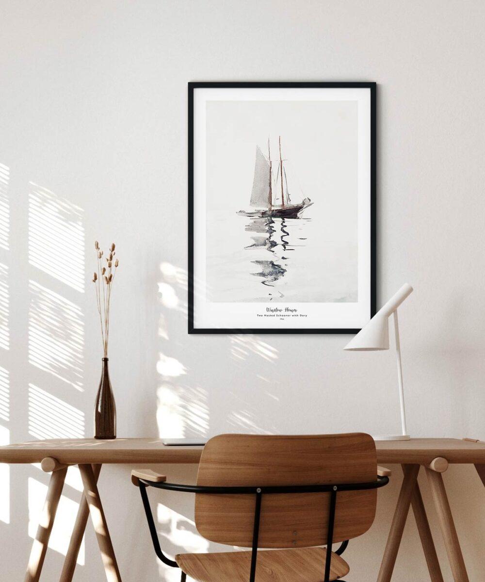 Winslow-Homer-Two-Masted-Schooner-with-Dory-Poster-Black-Framed-Duwart
