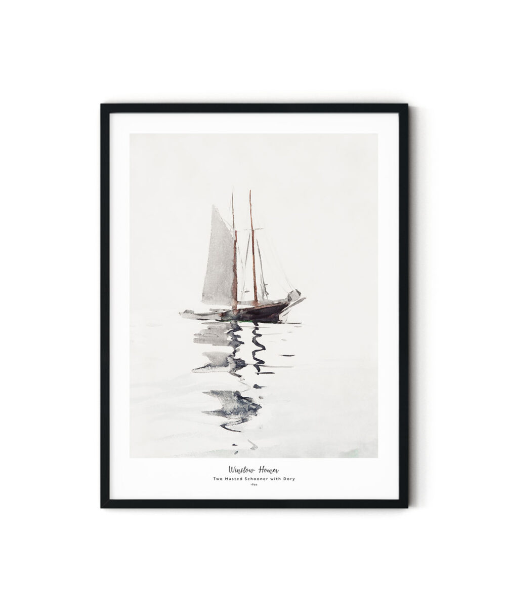 Winslow-Homer-Two-Masted-Schooner-with-Dory-Poster-Duwart