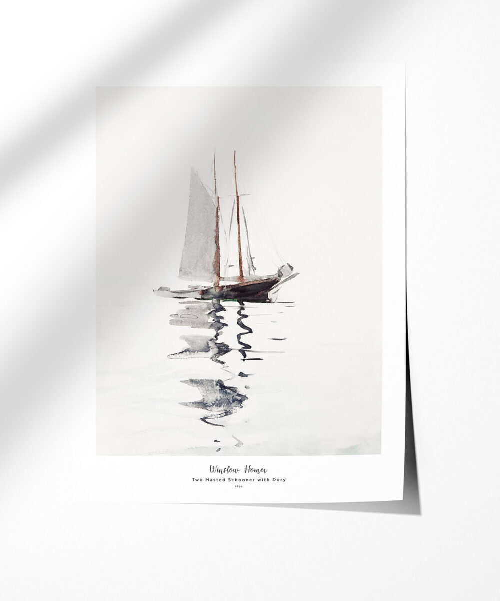Winslow-Homer-Two-Masted-Schooner-with-Dory-Poster-Photopaper-Duwart