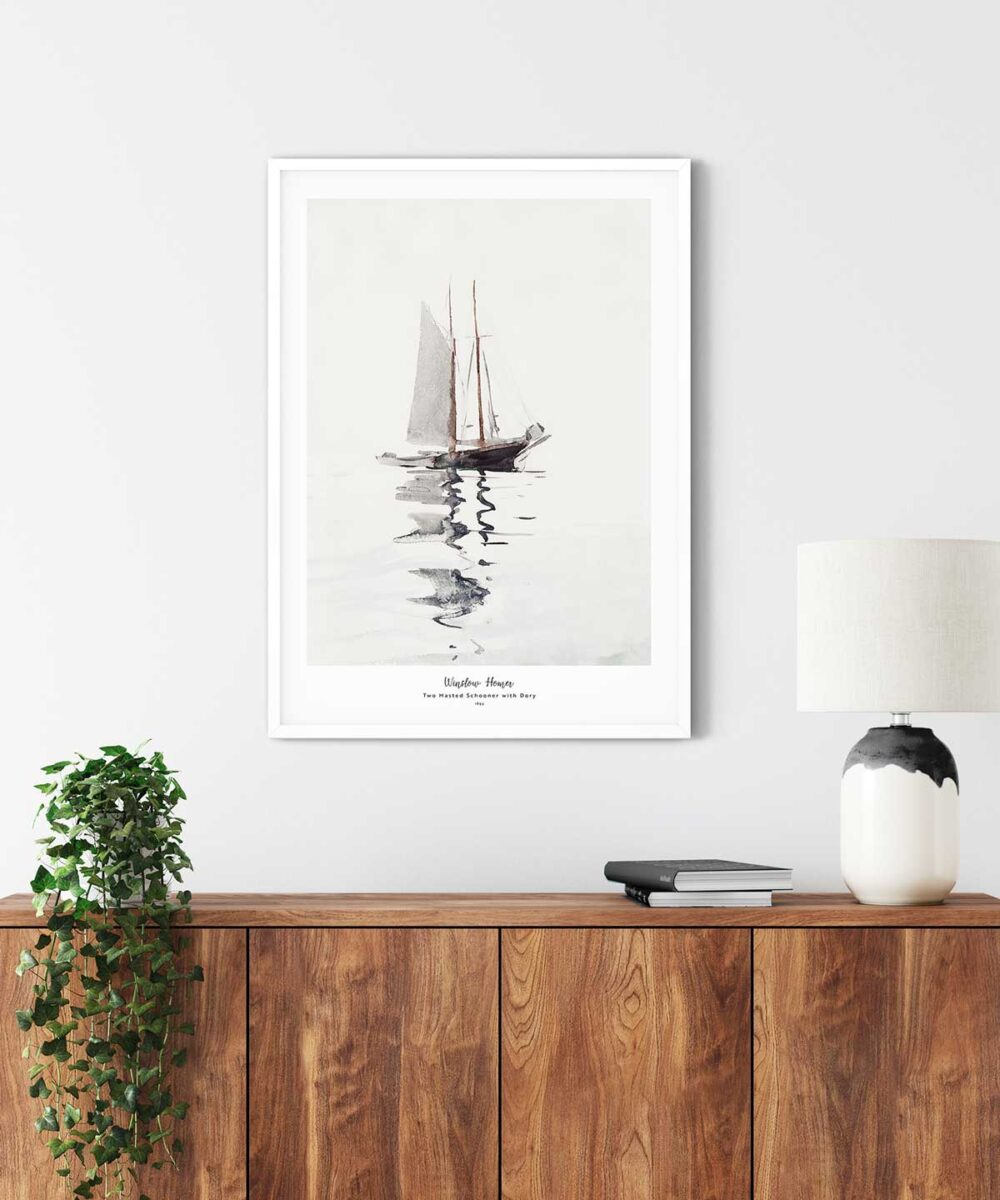 Winslow-Homer-Two-Masted-Schooner-with-Dory-Poster-White-Framed-on-Wall-Duwart