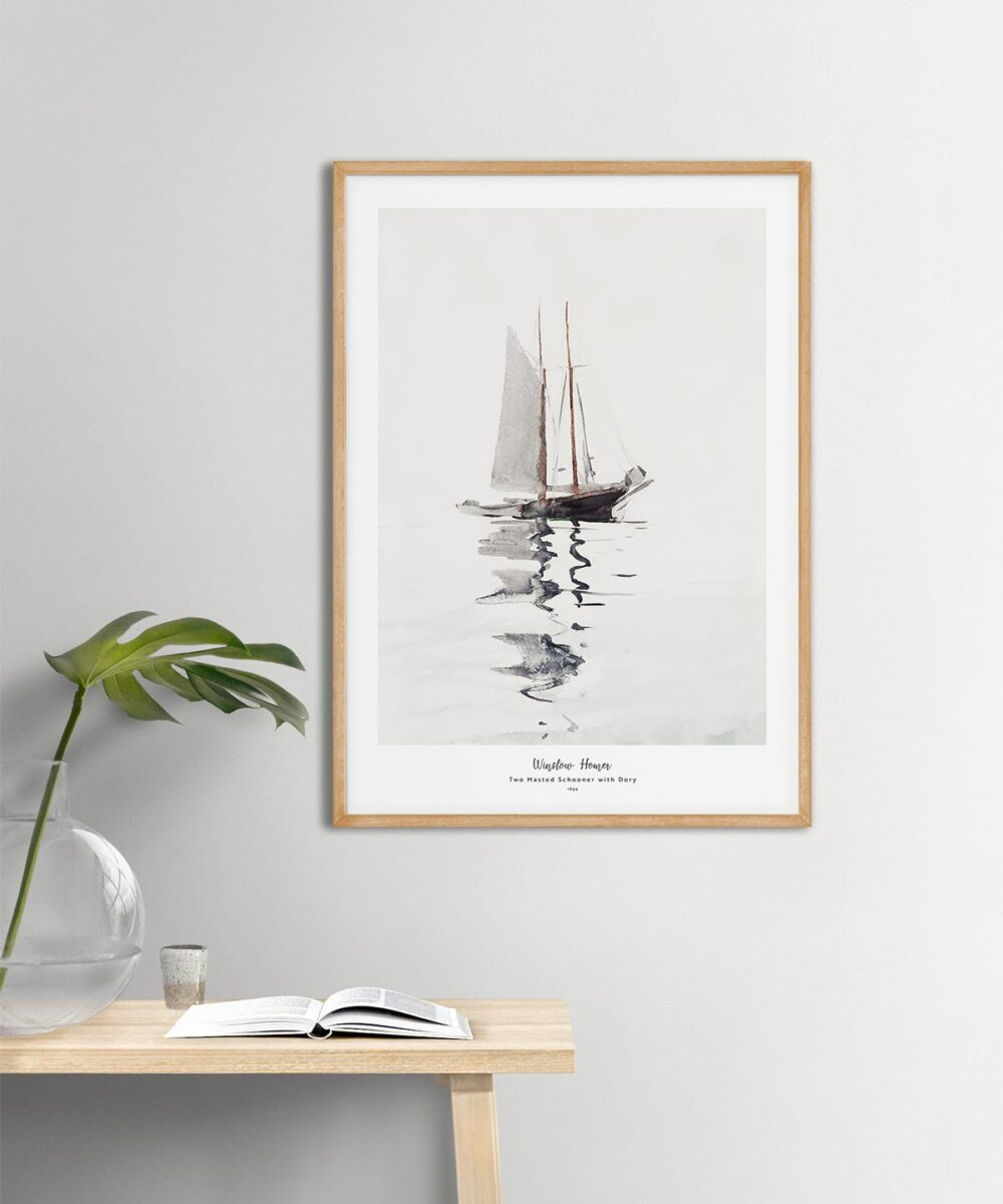 Winslow-Homer-Two-Masted-Schooner-with-Dory-Poster-Wooden-Framed-on-Wall-Duwart