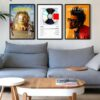 Album Cover Poster Set-Black-Framed-on-Livingroom-Wall-Duwart