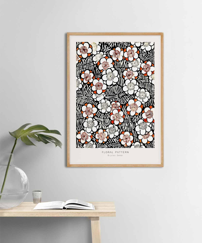 Bijutsu-Sekai-Floral-Pattern-Poster-on-Wall-Wooden-Frame-Duwart