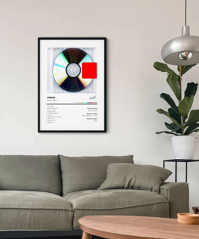 Kanye-West-Yeezus-Poster-Black-Framed-on-Livingroom-Wall-Duwart
