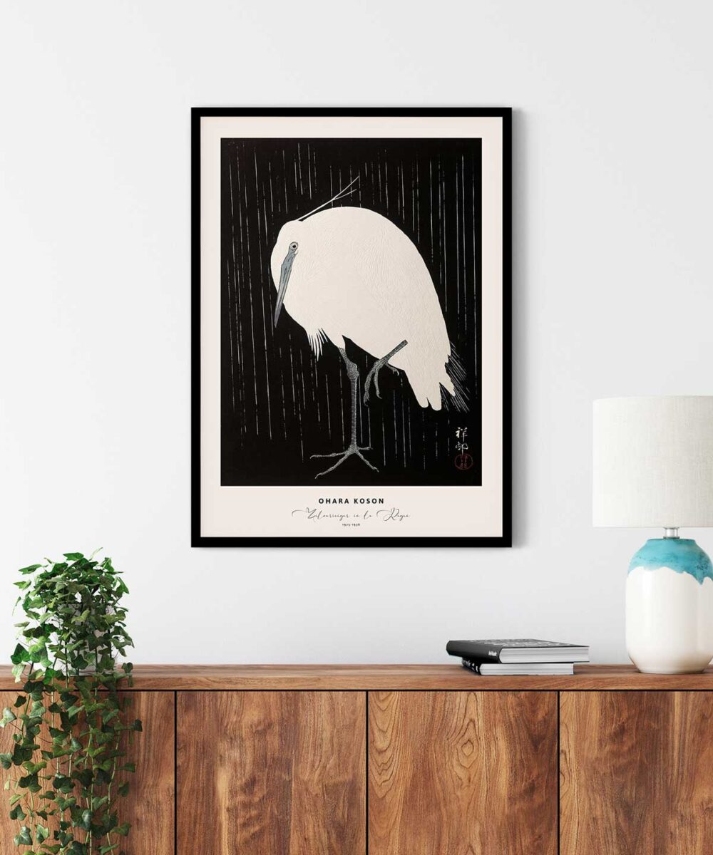 Ohara-Koson-Zilverreiger-in-de-Regen-Poster--Black-Framed-Duwart