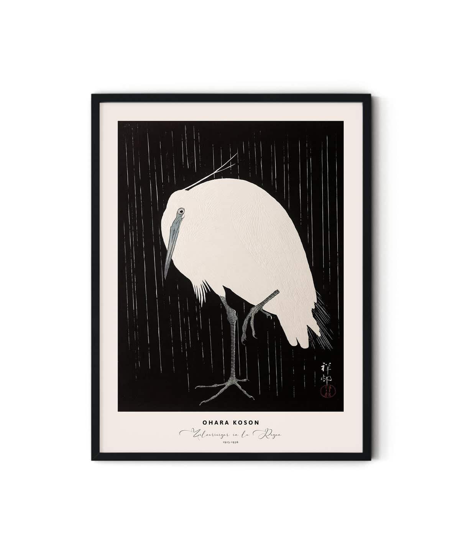 Ohara-Koson-Zilverreiger-in-de-Regen-Poster-Duwart