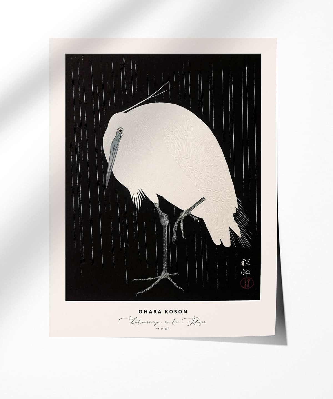 Ohara-Koson-Zilverreiger-in-de-Regen-Poster-Photopaper-Duwart