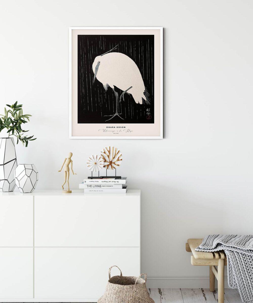 Ohara-Koson-Zilverreiger-in-de-Regen-Poster--White-Framed-Duwart