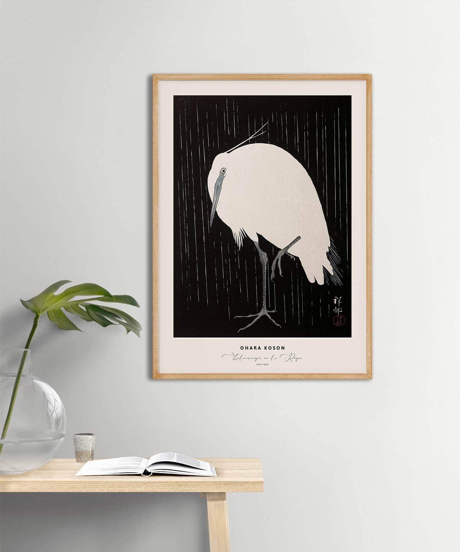 Ohara-Koson-Zilverreiger-in-de-Regen-Poster-Wooden-Framed-on-Wall-Duwart