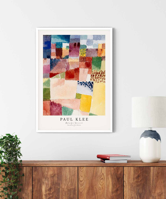 Paul-Klee-Motif-from-Hammamet-Poster-White-Framed-Duwart