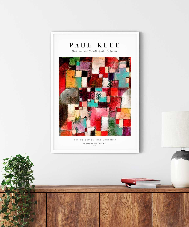 Paul-Klee-Redgreen-and-Violette-Yellow-Rhythms-Poster-White-Framed-Duwart