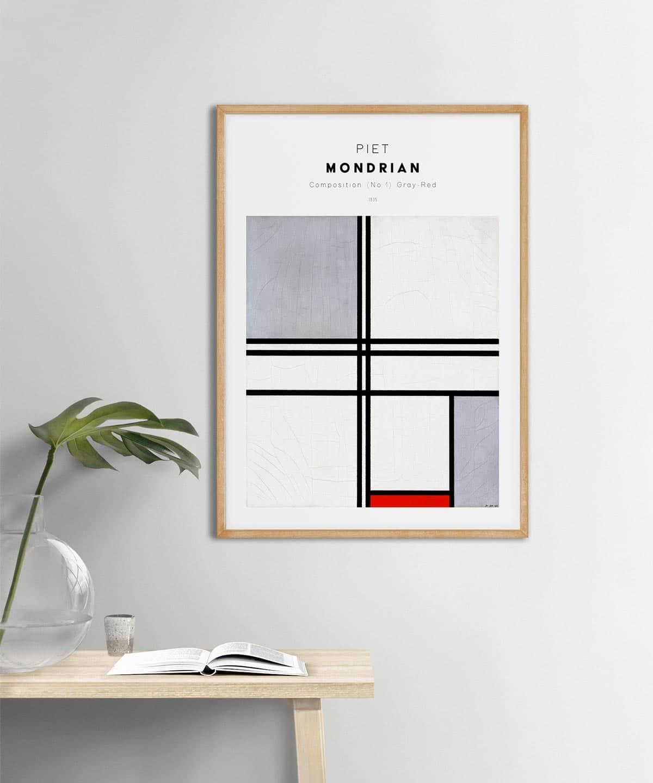 Piet-Mondrian-Composition-No-1-Poster-on-Wall-Wooden-Frame-Duwart