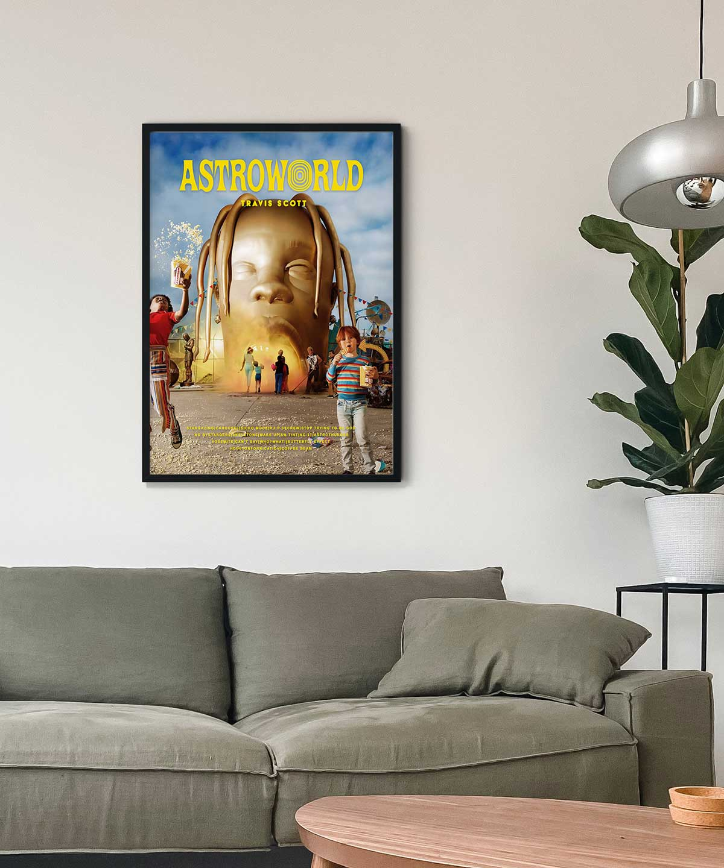 Travis-Scott-Astroworld-Poster-Black-Framed-on-Livingroom-Wall-Duwart
