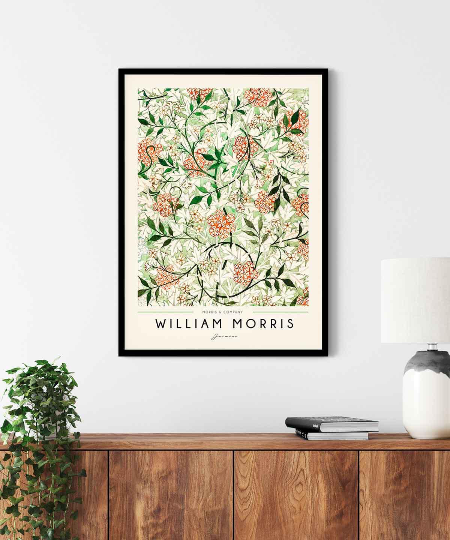 William-Morris-Jasmine-Poster--Black-Framed-on-Wall-Duwart